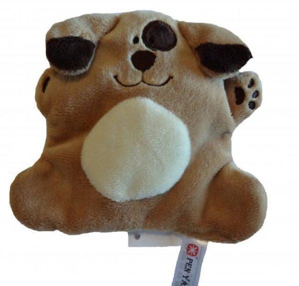 Flaches Kuscheltier mit positiver Energie, der liebenswerte Hund Wuff