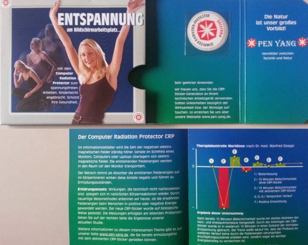 Lieferumfang der CRP Monitor Sticker zum Schutz vor Elektrosmog am Bildschirm und vor WLAN