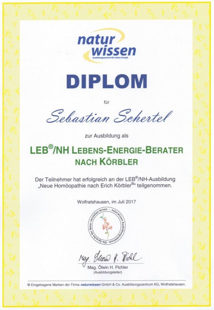 Diplom Lebens-Energie-Berater Neue Homöopathie nach Erich Körbler