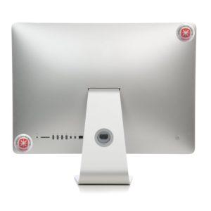 Schutz vor Monitorstrahlung - Anbringung der Sticker von hinten