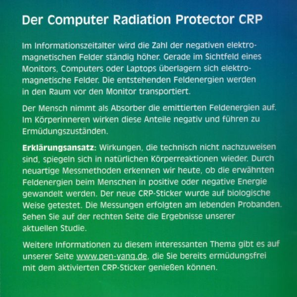PEN-YANG Computer-Strahlungs-Schutz Aufkleber Erklärung