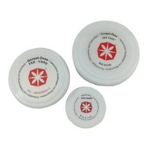 3 weiße Dosen mit Quarzmehl von Heß & Volk