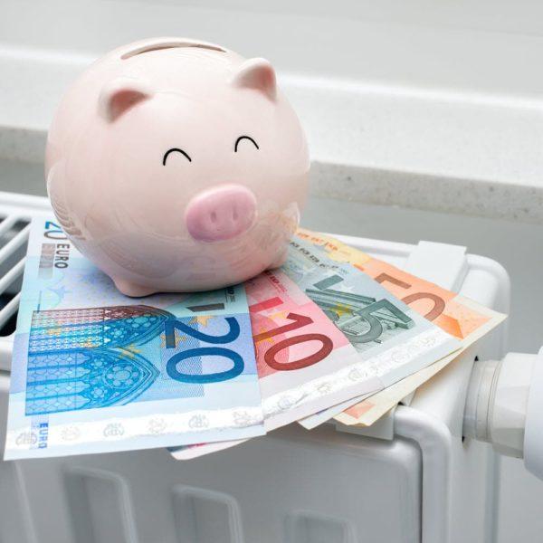 Sparschwein mit Euros auf Heizkörper
